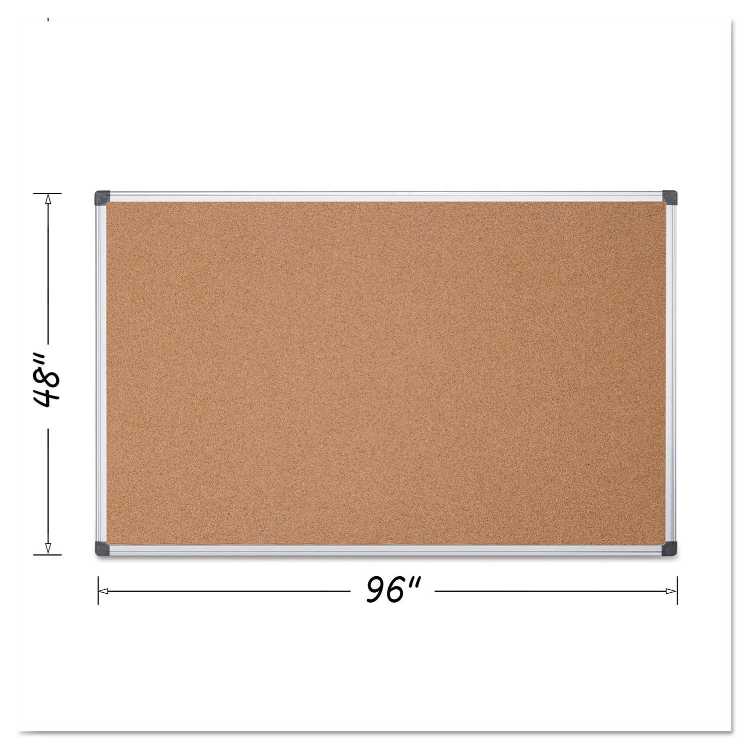 Value Cork Bulletin Board with Aluminum Frame, 48 x 96, Natural