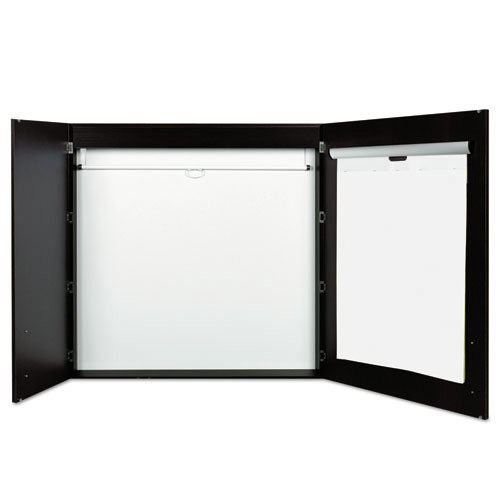 Conference Cabinet, Porcelain Magnetic, Dry Erase, 48 x 48, Ebony