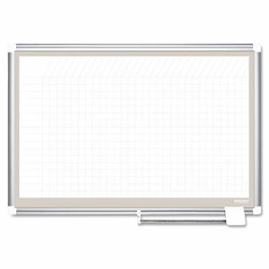 All Purpose Porcelain Dry Erase Planning Board, 1x2 Grid, 36x24, Aluminum Frame