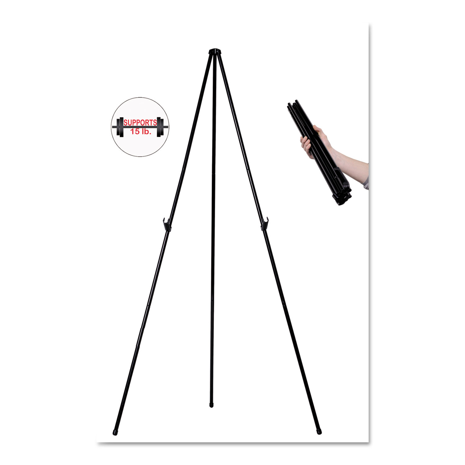 "Instant Easel, 61 1/2"", Black, Steel, Heavy-Duty"