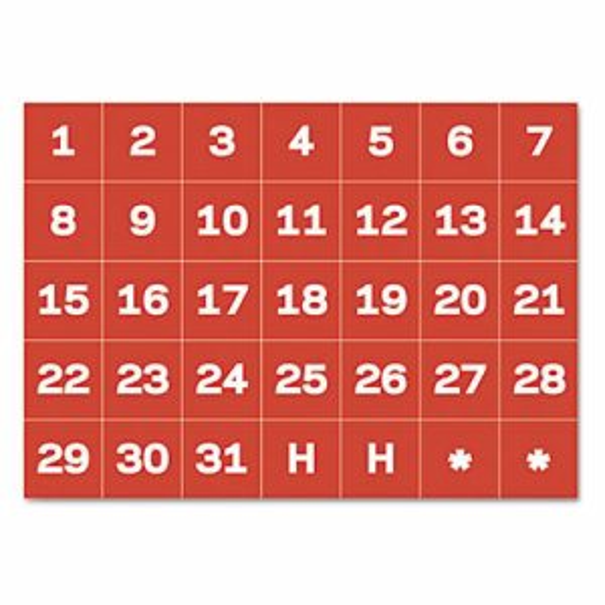 "Calendar Magnetic Tape, Calendar Dates, Red/White, 1"" x 1"""