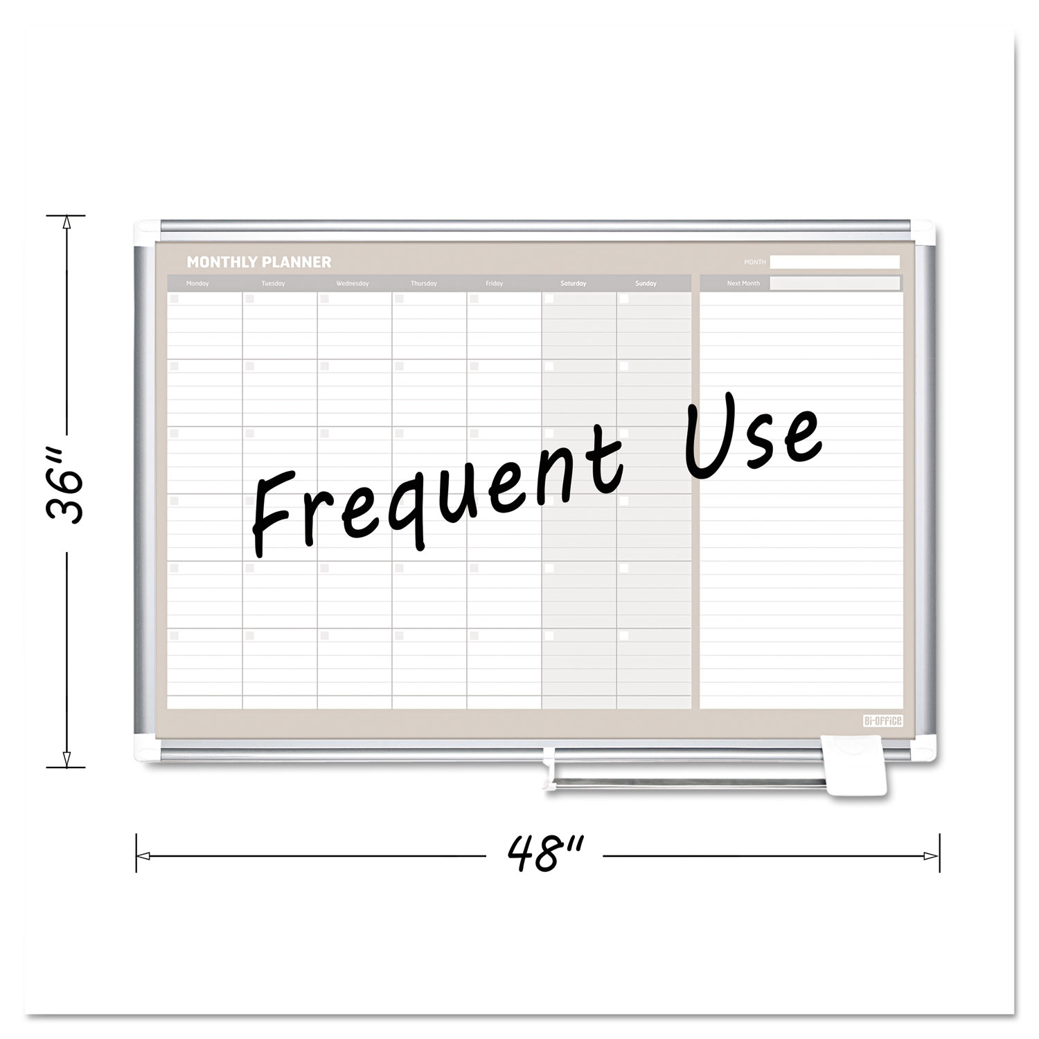 4 Month Planner, 48x36, White/Silver