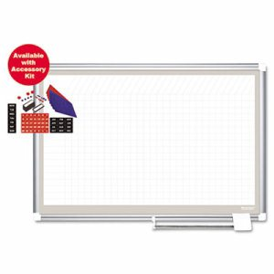 All-Purpose Planning Board w/Accessories, 1x1 Grid, 48x36, Aluminum Frame