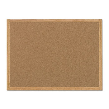 Value Cork Bulletin Board with Oak Frame, 24 x 36, Natural