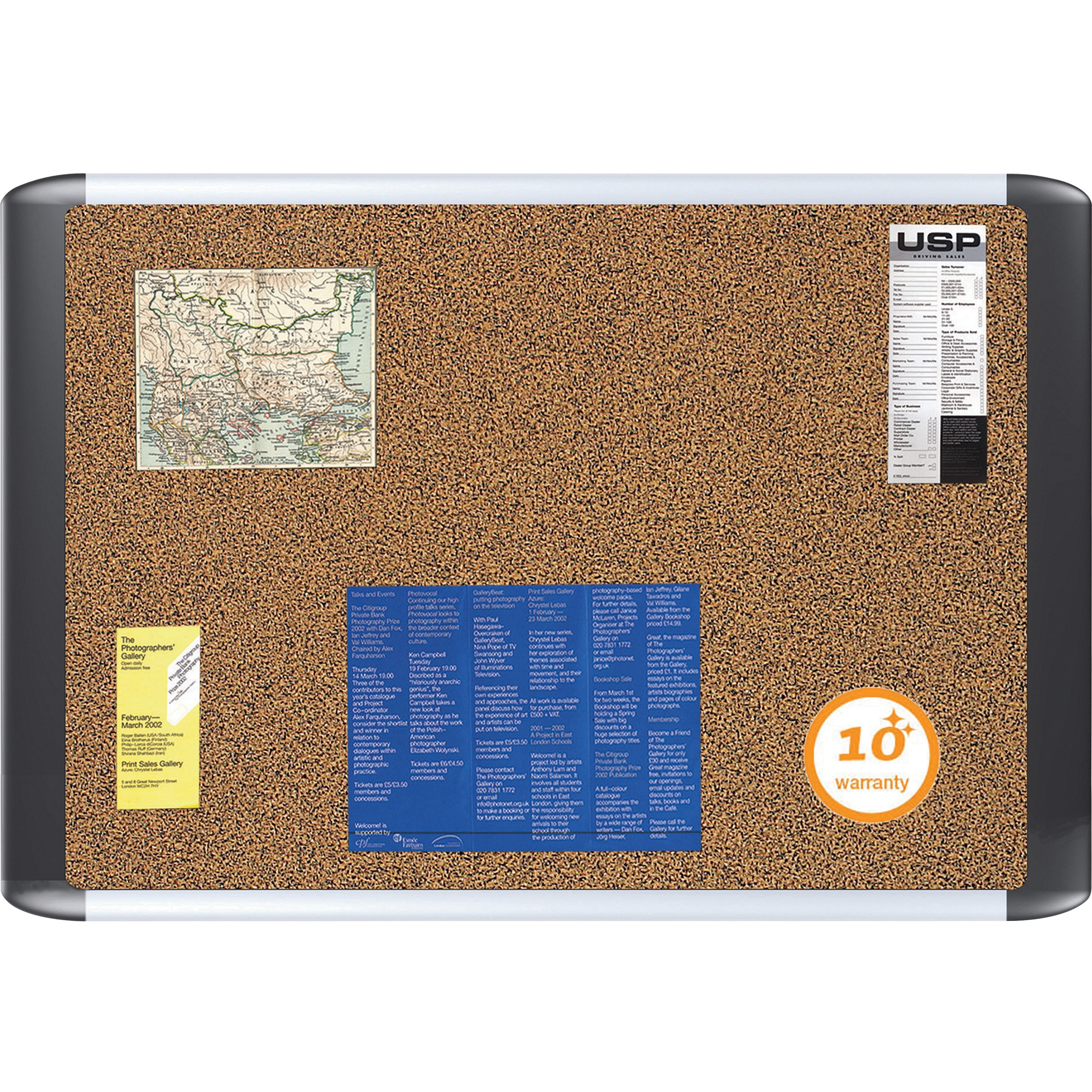 Tech Cork Board, 24x36, Silver/Black Frame