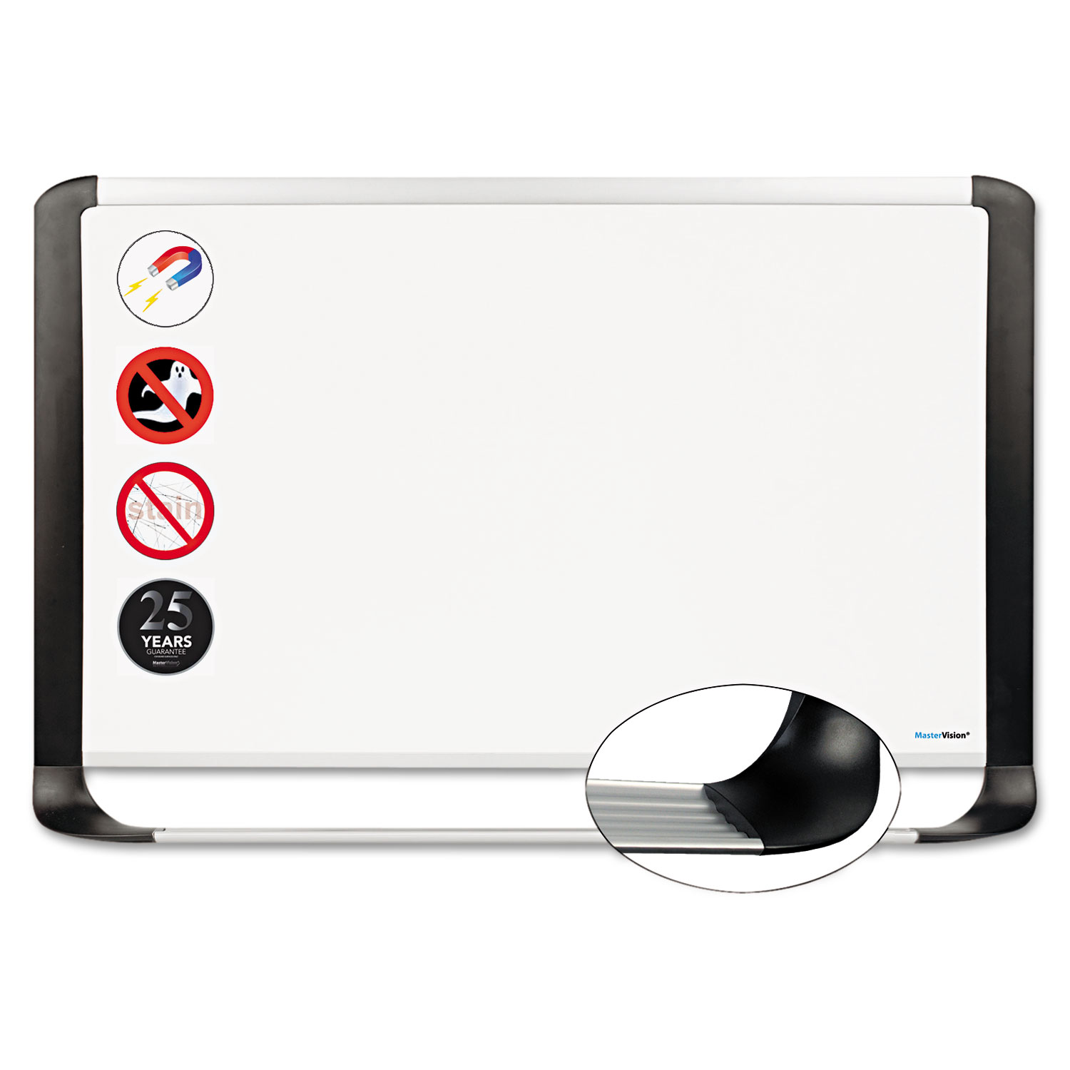 Porcelain Magnetic Dry Erase Board, 29.5 x 48, White/Silver