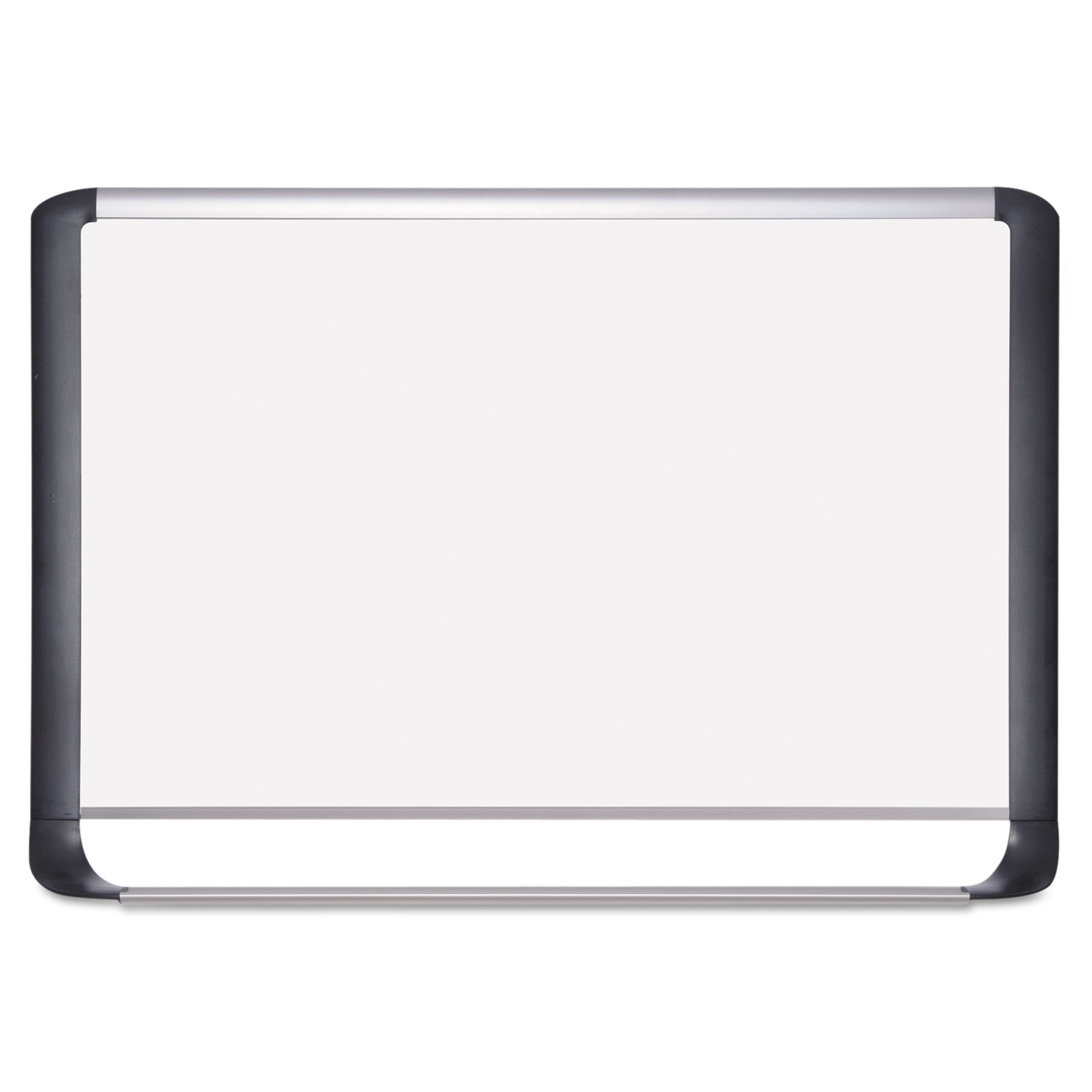 Lacquered steel magnetic dry erase board, 48 x 96, Silver/Black