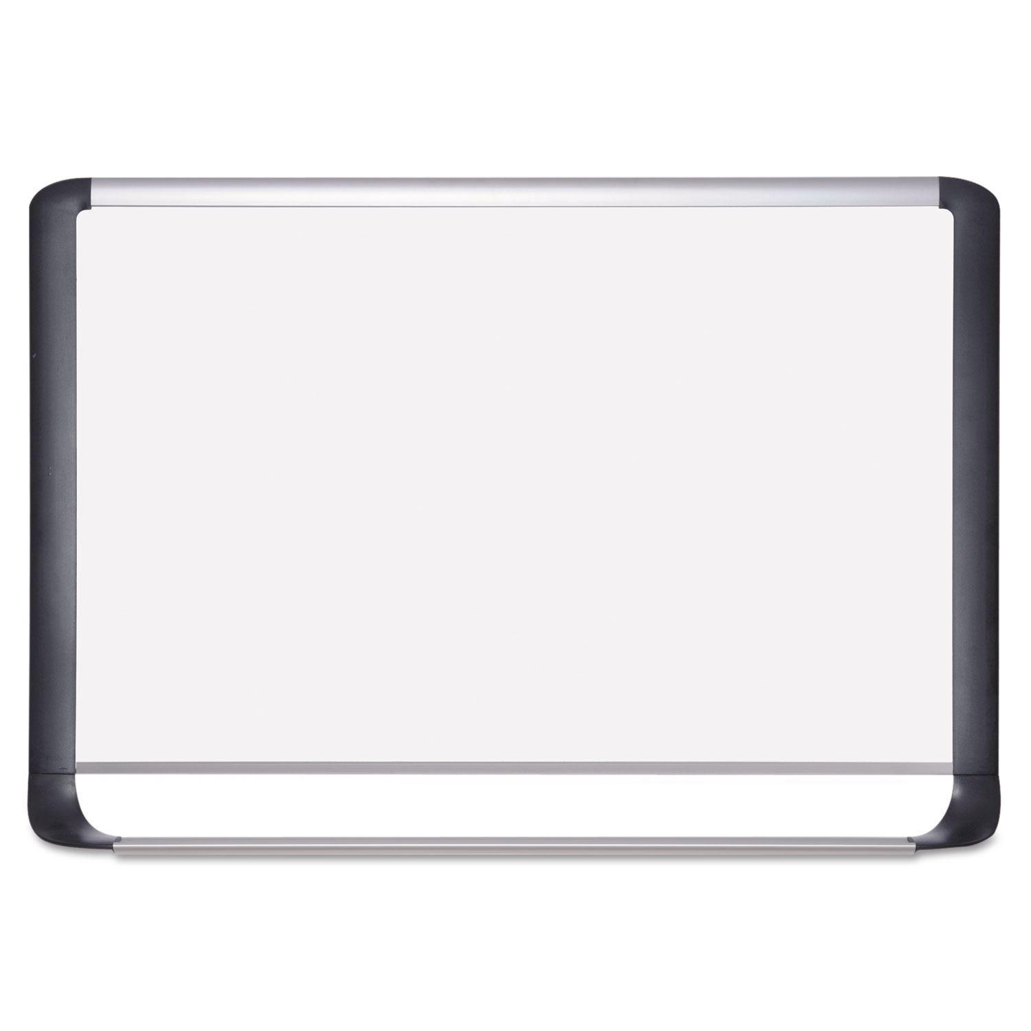Lacquered steel magnetic dry erase board, 48 x 72, Silver/Black