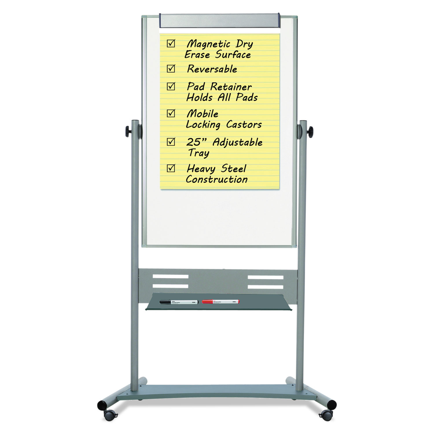 """Magnetic Reversible Mobile Easel, 35 2/5w x 47 1/5h, 80""""h Easel, White/Silver"""