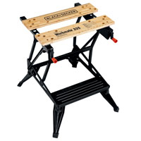 Workmate WM225 Work Bench With One Handed Clamp, 450 lb, 30 in H X 24 in W X 13-1/2 in D, Steel
