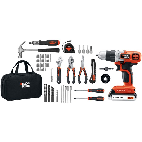 BLACK+DECKER LDX120PK 20-Volt MAX* Lithium Drill/Driver & 68-Piece Project Kit