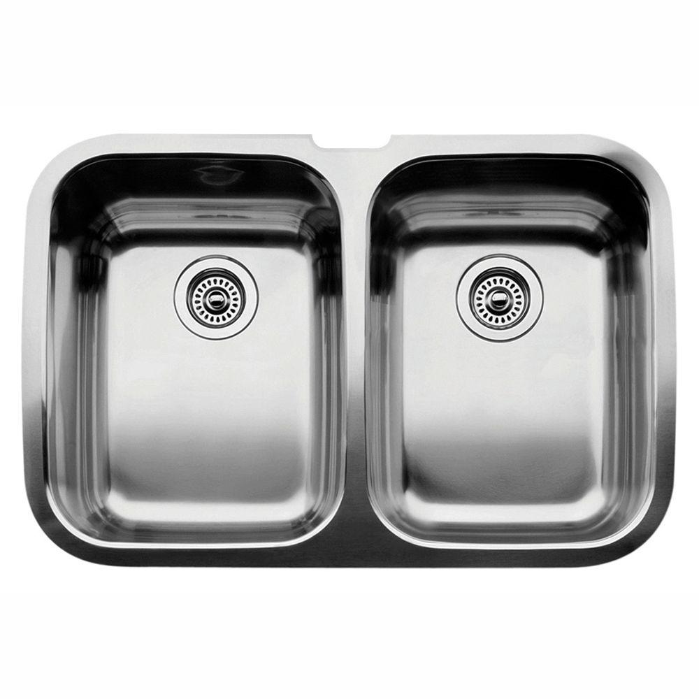 31X21X10 Blancospex Undercounter Double Bowl Sink Stainless Steel