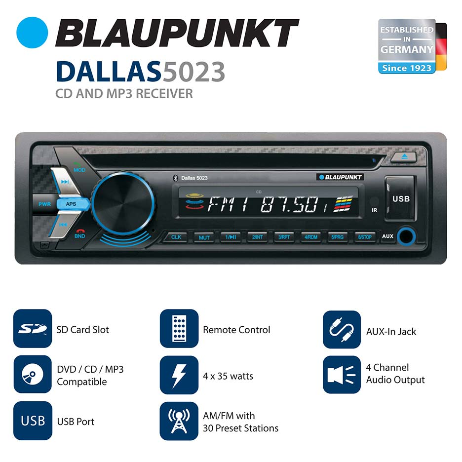 Blaupunkt Head unit AM/FM/CD/BT/USB/Remote/ Detachable Face