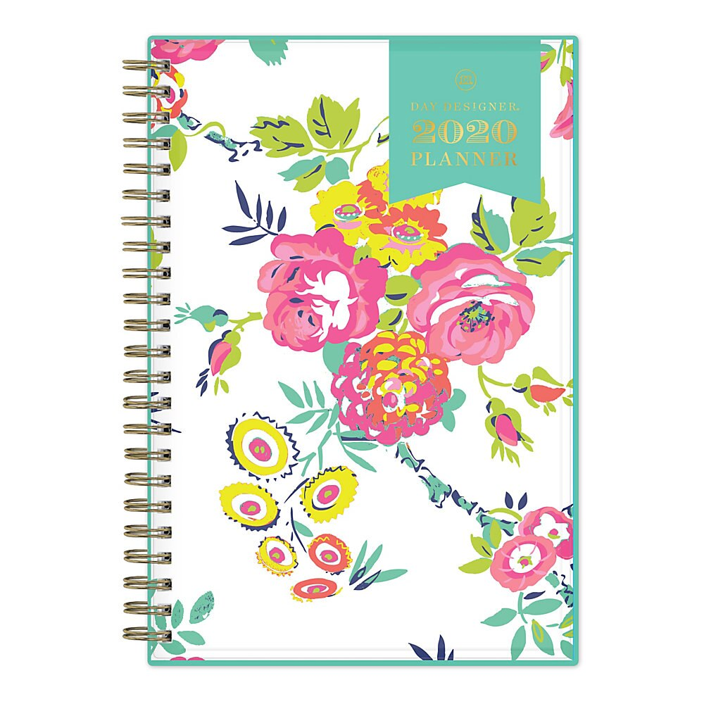 Day Designer CYO Weekly/Monthly Planner, 8 x 5, White/Floral, 2020