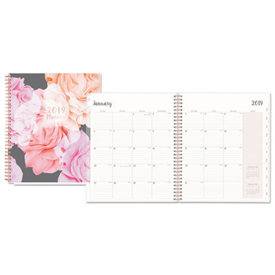 Joselyn Monthly Wirebound Planner, 8 x 10, Light Pink/Peach/Black, 2019