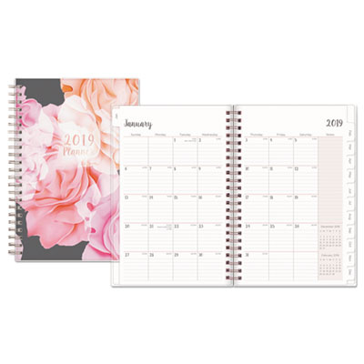 Joselyn Weekly/Monthly Wirebound Planner, 5 x 8, Light Pink/Peach/Black, 2019