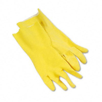 Large Yellow Flock-Lined Gloves, 12 Pairs
