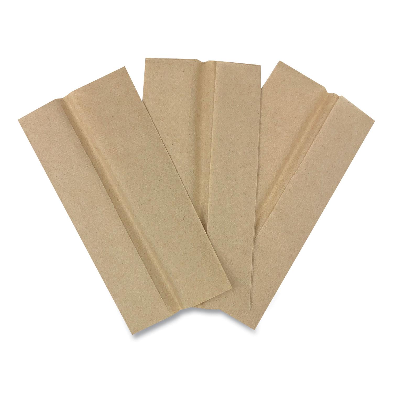 Tall Fold Dispenser Napkins, 1-Ply, 13 x 6, Kraft, 500/Pack, 20 Packs/Carton