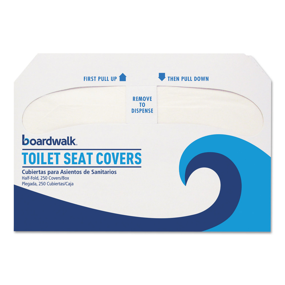 Premium Half-Fold Toilet Seat Covers, 14.25 x 16.5, White, 250 Covers/Sleeve, 10 Sleeves/Carton