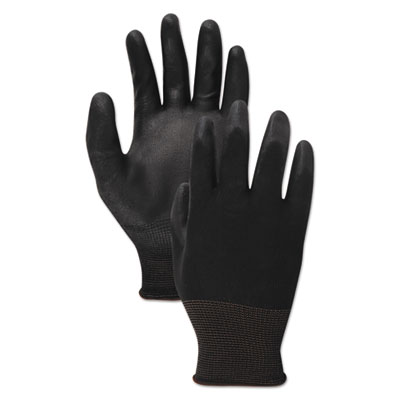 PU Palm Coated Gloves, Black, Size 9 (Large), 1 Dozen