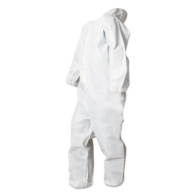 Disposable Coveralls, White, Large, Polypropylene, 25/Carton