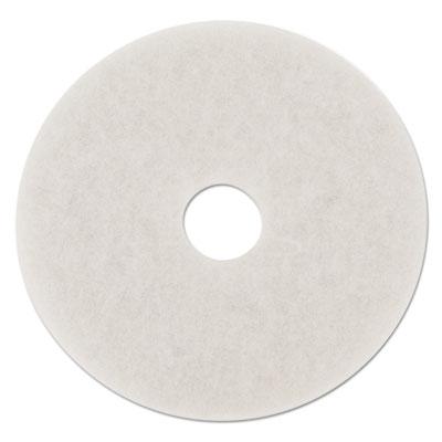 "Standard Polishing Floor Pads, 18"" Diameter, White, 5/Carton"