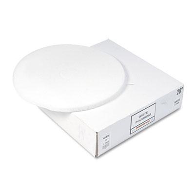 "Standard Floor Pads, 20"" Diameter, White, 5/Carton"