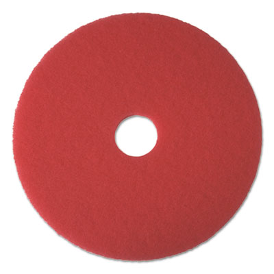 "Buffing Floor Pads, 22"" Diameter, Red, 5/Carton"