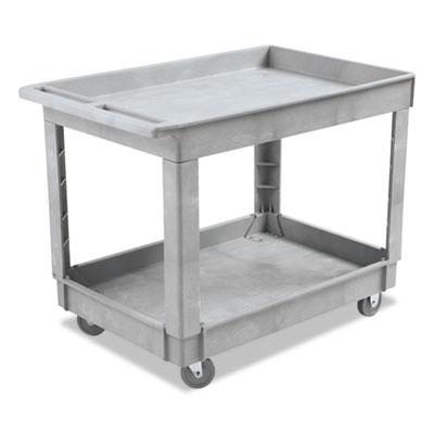 Utility Cart, Two-Shelf, Plastic Resin, 24w x 40d, Gray