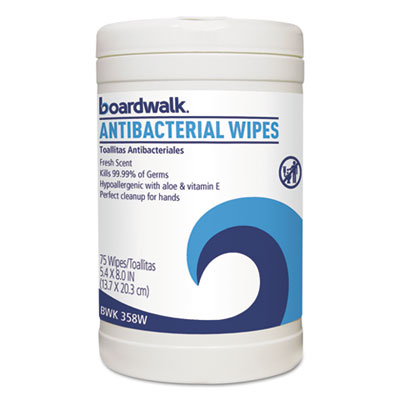 Antibacterial Wipes, 8 x 5 2/5, Fresh Scent, 75/Canister, 6 Canisters/Carton