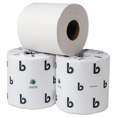 "Boardwalk Green Bathroom Tissue, 2-Ply, 3.75"" x 4"", White, 500 Sheets, 80/Carton"