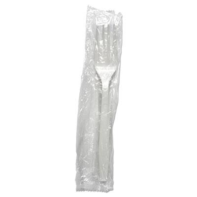 Heavyweight Wrapped Polypropylene Cutlery, Fork, White, 1000/Carton