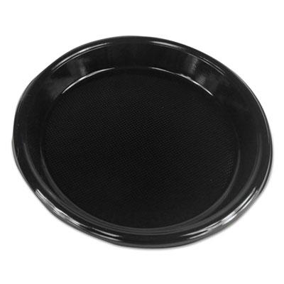 """Hi-Impact Plastic Dinnerware, Plate, 10"""" Diameter, Black, 500/Carton"""