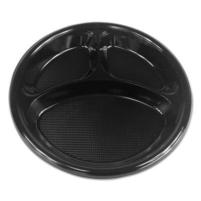 "Hi-Impact Plastic Dinnerware, Plate, 10"" Dia., 3 Compartments, Black, 500/Carton"
