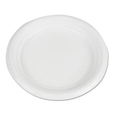 "Hi-Impact Plastic Dinnerware, Plate, 6"" Diameter, White, 1000/Carton"