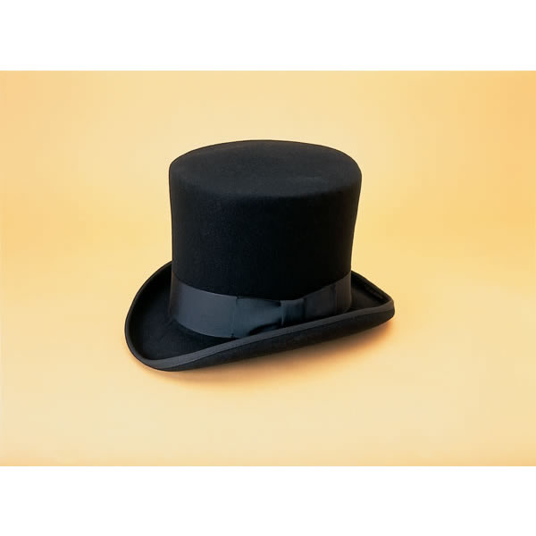"Medium Black Top Hat, 21 5/8"" - 22 1/4"""
