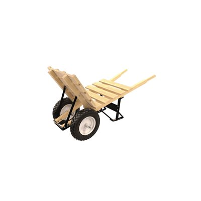 BRICK & TILE BARROW - DOUBLE FLATFREE TIRE WOOD HANDLE