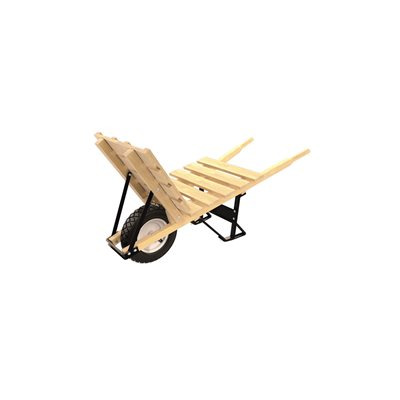 BRICK & TILE BARROW - SINGLE FLATFREE TIRE WOOD HANDLE