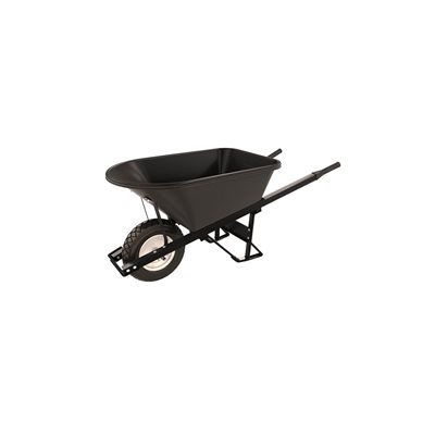 POLY TRAY BARROW - 5 3/4 CU FT - SINGLE FLAT FREE TIRE STEEL HANDLE