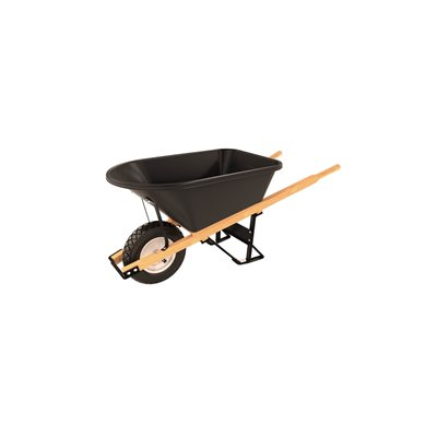 POLY TRAY BARROW - 5 3/4 CU FT - SINGLE FLAT FREE TIRE WOOD HANDLE