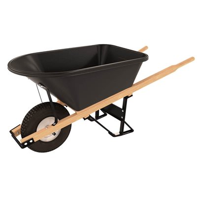 POLY TRAY BARROW - 5 3/4 CU FT - SINGLE KNOBBY TIRE WOOD HANDLE