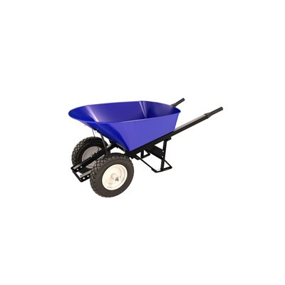 STEEL TRAY WHEEL BARROW - 6 CU FT - DOUBLE FLAT FREE TIRE STEEL HANDLE