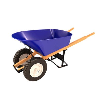 STEEL TRAY WHEEL BARROW - 6 CU FT - DOUBLE FLAT FREE TIRE WOOD HANDLE