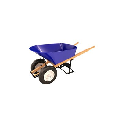 STEEL TRAY WHEEL BARROW - 6 CU FT - DOUBLE RIBBED TIRE WOOD HANDLE