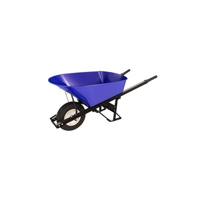 STEEL TRAY WHEEL BARROW - 6 CU FT - SINGLE FLAT FREE TIRE STEEL HANDLE