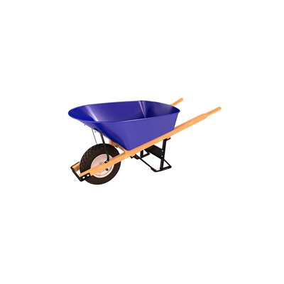 STEEL TRAY WHEEL BARROW - 6 CU FT - SINGLE FLAT FREE TIRE WOOD HANDLE