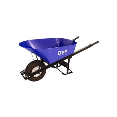 STEEL TRAY WHEEL BARROW - 6 CU FT - SINGLE KNOBBY TIRE STEEL HANDLE