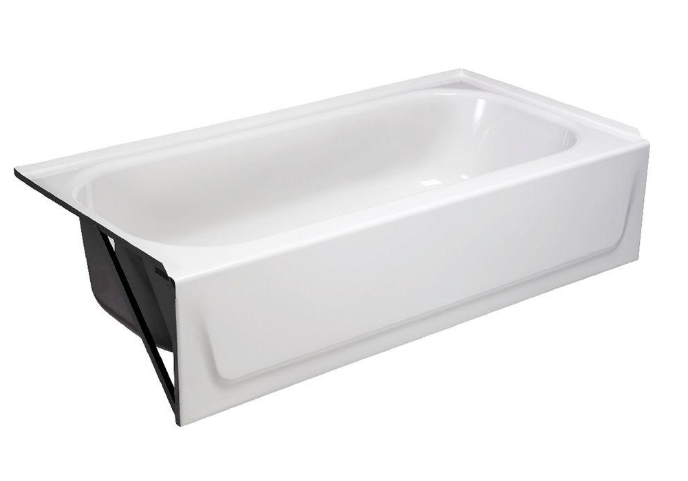 STEEL BATHTUB WITH LEFT-HAND DRAIN, WHITE, 30 IN. X 60 IN. X 14 1/4 IN.