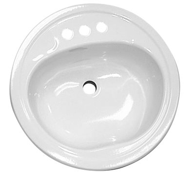 STEEL BATHROOM SINK, ROUND, WHITE, 19 IN.