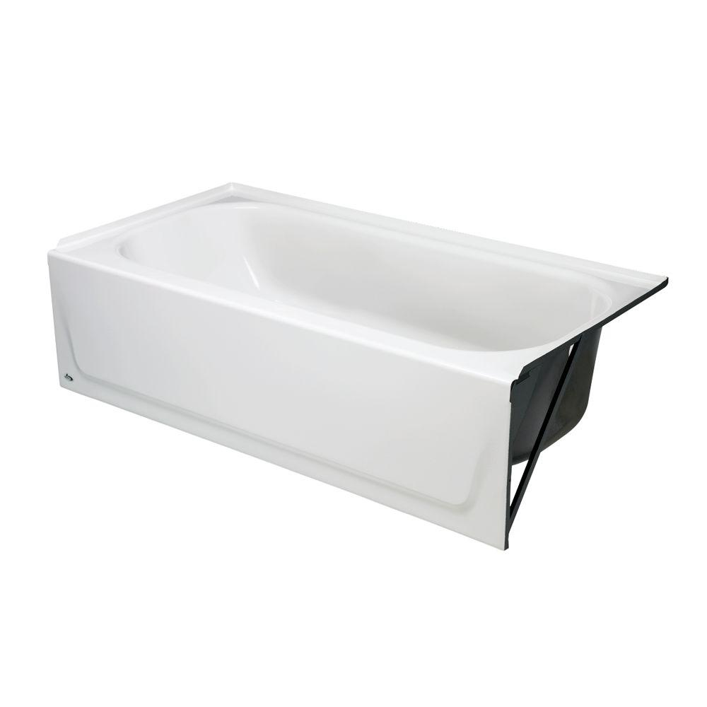 BOOTZ� MAUICAST PORCELAIN ENAMELED BATHTUB WITH RIGHT-HAND DRAIN, 5 FT., WHITE